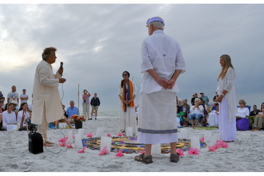 From left, Gopi Chari, Zan Benham, Frannie Hoffman and David Cooper represented the four anchors of the four directions of the mandala.