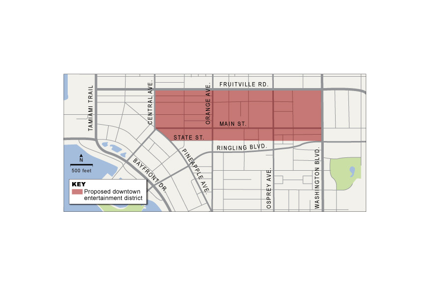 The proposed entertainment district would stretch more than six downtown blocks from Central Avenue east to U.S. 301, and from Fruitville Road south to State Street.