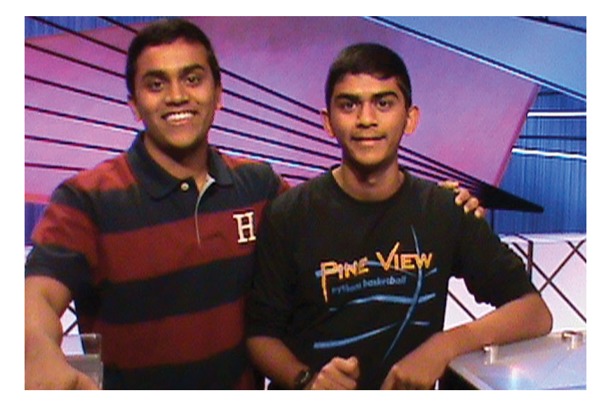 "Arjun Byju on the set of ""Jeopardy!"" with his younger brother, Aravind."