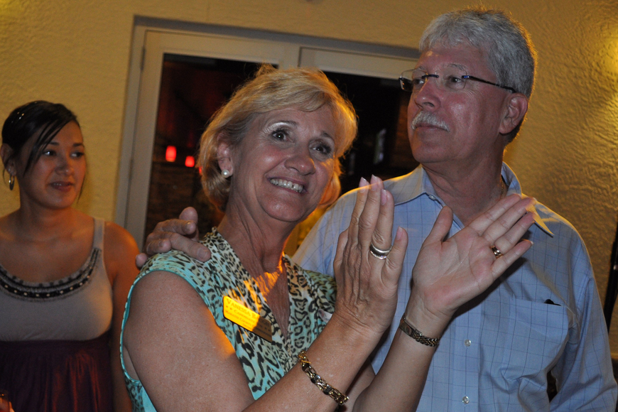 Lakewood Ranch resident Vanessa Baugh, pictured with her husband, Don, was giddy with excitement as she learned she would advance in the race for the Manatee County Board of County Commissioners District 5 seat.