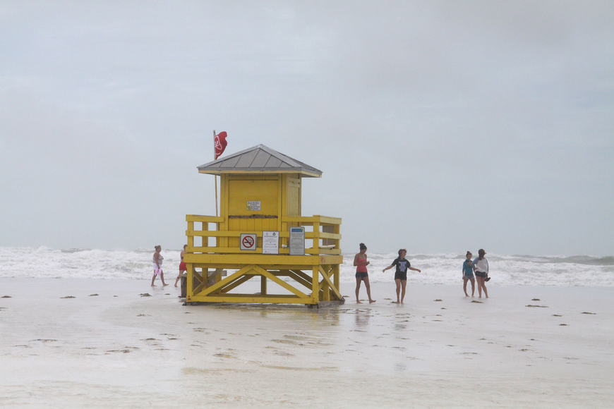 Tropical Storm Debby left little of America's No. 1 Beach exposed Monday, June 24 as the surf stretched more than 100 feet north of Siesta Key Beach lifeguard stands. Photos by Rachel S. O'Hara.