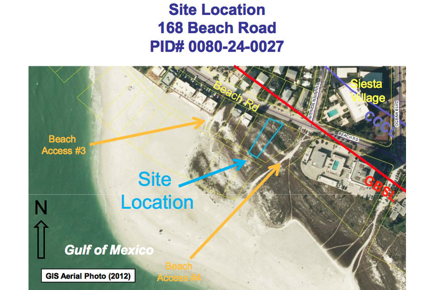 This courtesy aerial photo shows the sites of the variance request for two Beach Road lots located west of the Terrace condominium.