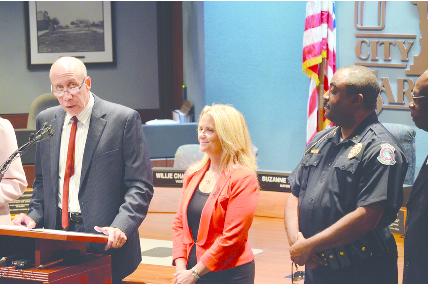 City Manager Tom Barwin introduced new Police Chief Bernadette DiPino Oct. 16.