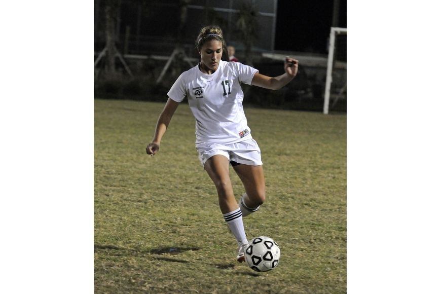 Lakewood Ranch freshman defender Hannah Miller brings the ball back toward the midfield.