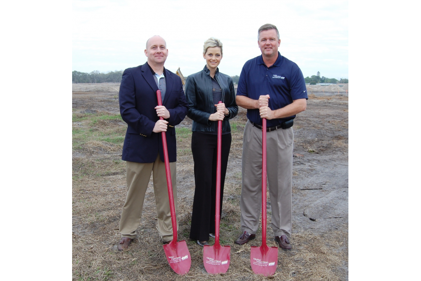 Taylor Morrison Vice President of Purchasing Derek Andruss, Vice President of Sales Cammie Longenecker and Vice President of Construction Mark Mansfield break ground at the Esplanade by Siesta Key.