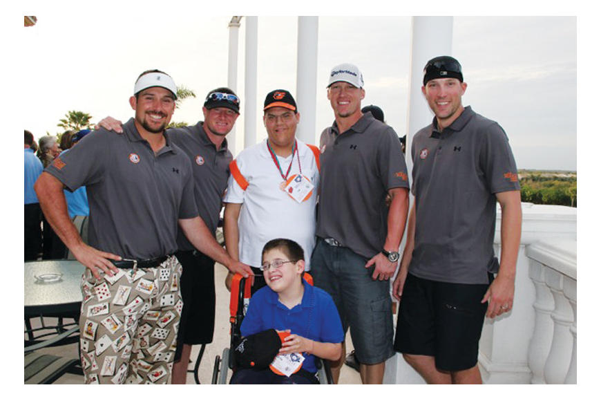 Miracle League of Manasota baseball player Seth Morano enjoyed spending time with the Baltimore Orioles players. Courtesy photo.