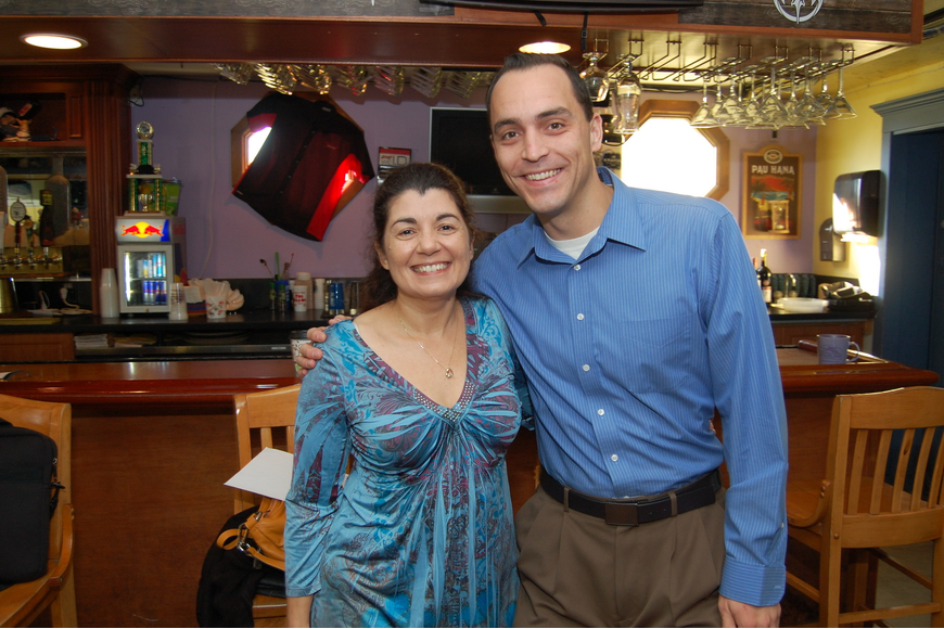 Siesta Key Village Association members Lourdes Ramirez and Kevin Cooper stopped to chat after the Feb. 5 meeting of the merchant group.