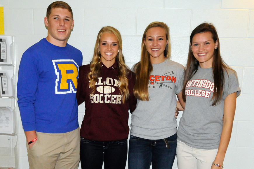 Cardinal Mooney High seniors Trey LaPorta, Hannah Howard, Christina Warren and Victoria Krupa all signed national letters-of-intent Feb. 6.