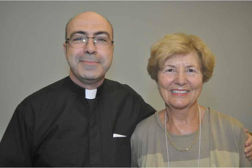 Rev. Steve Clemente of Our Lady of the Angels in Lakewood Ranch and Ronda Montminy