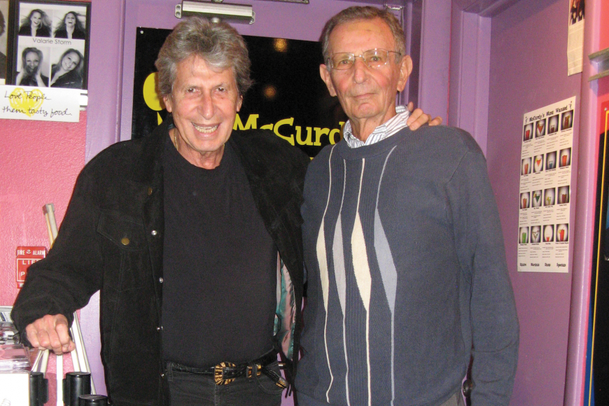 Comedian David Brenner and Vice Mayor David Brenner hang out after the comedian's Feb. 7 performance, at McCurdy's Comedy Club. Courtesy photo.