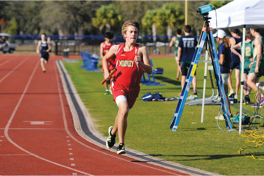 Jack Corey anchored the Cardinal Mooney 4x800 relay to a second-place finish.