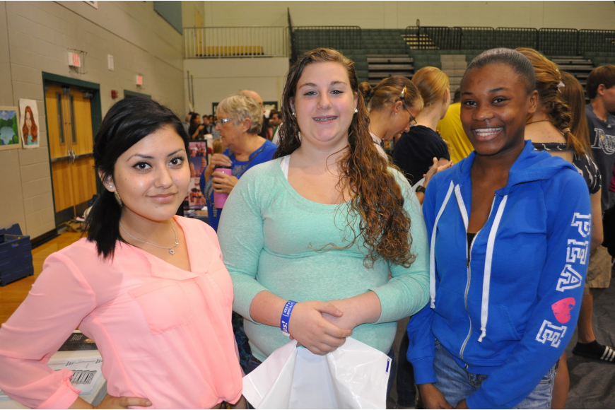 Erica Cantu, Emily Williams and Briana Twenty visited the U.S. Army and University of South Florida tables.