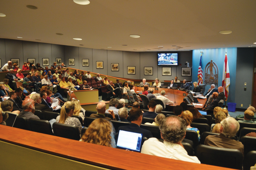 City commissioners listened to more than 50 residents for more than three-and-a-half hours. Photos by Roger Drouin.