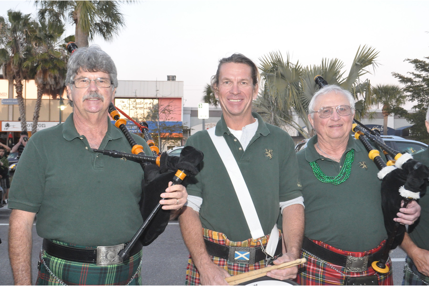 Bob Fair, Jay Connelly and Jack States pose on a break from bagpipe playing.