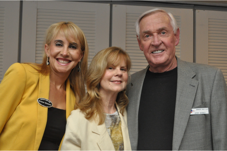 Sarasota Yacht Club bowlers, Sirlene and Jerry Bonney with Debbie Duncan