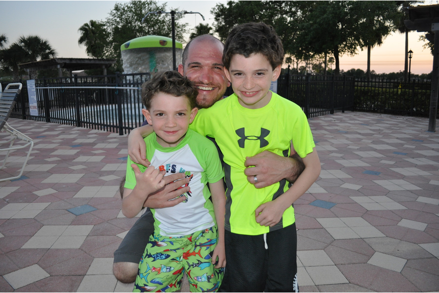 Bryan Allman and his sons, Parker and Preston spent the day at the beach before the pool.
