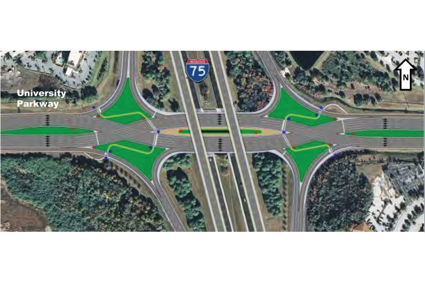 According to the Department of Transportation, the diverging-diamond interchange will improve delay times. Courtesy rendering.