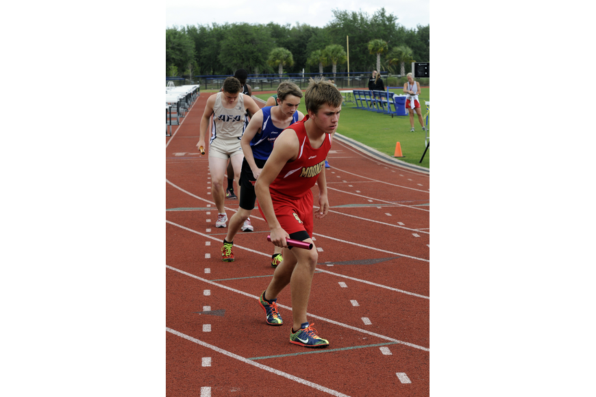 Sophomore Mitch Gannon led off the 4x800 relay for Cardinal Mooney.