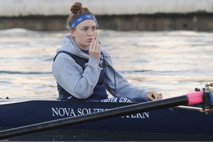 Sarasota graduate Courtney Berger has raced the course at Nathan Benderson Park four times since joining the Nova Southeastern University crew team three years ago. Courtesy of Nova Southeastern University.
