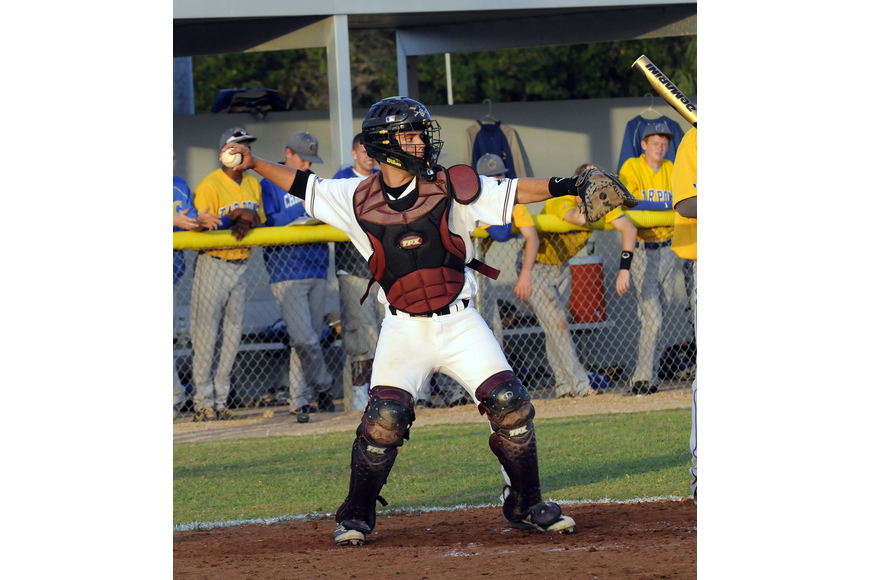 Braden River catcher Taylor Rahn throws the ball back to the mound.