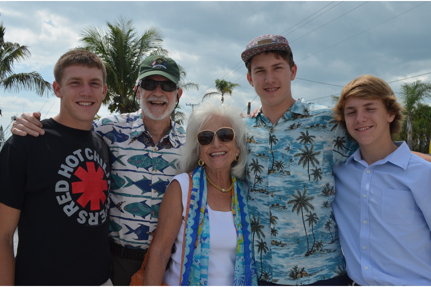 Dennis and Graci McGillicuddy with their grandsons Johnny, Rowland and Ikie Evans.
