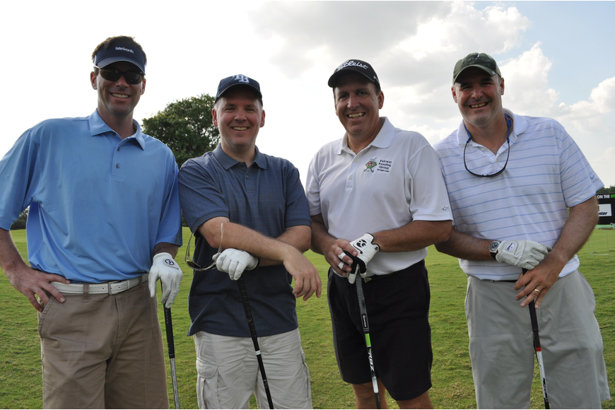 Steve Scheve of Arthrex; Patrick Wright of the Payton Wright Foundation; and Mark Pascarella and Gris Bettle of the Fairway Funding Group, an event sponsor