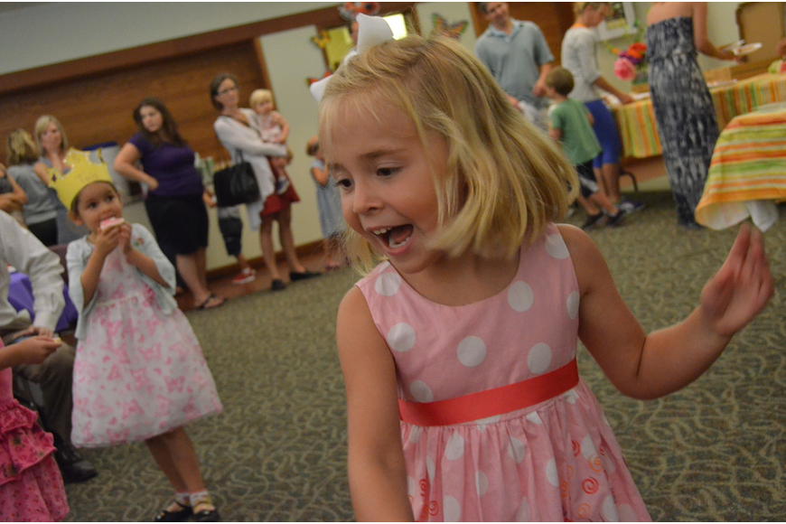 Emerson Miller dances to the music at the Butterfly Ball. She will attend Out – of – Door School in the fall for kindergarten.