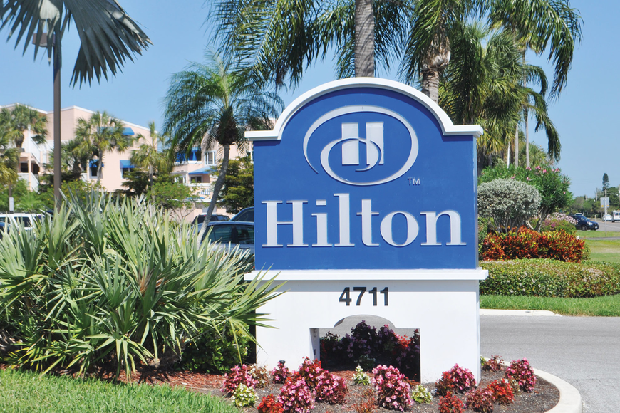 The Hilton flag that flies in front of the Longboat Key Hilton Beachfront Resort could disappear if a renovation project doesn't get under way this summer. File photo.