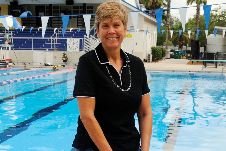 Sarasota resident Rachel Bowman, former college swimmer and Masters water polo player, joined the Sarasota YMCA Sharks Masters Swim Team in 2007.