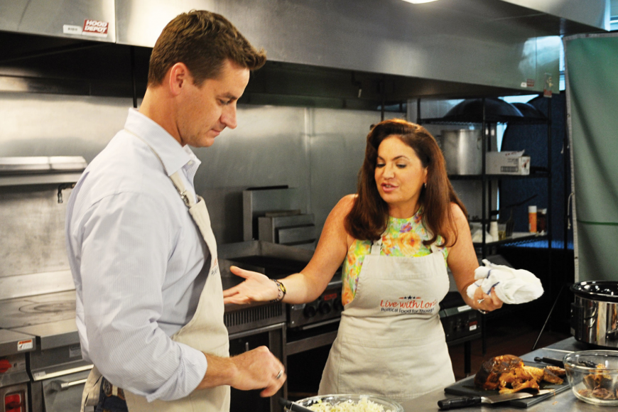 "Rep. Greg Steube, who often smokes pork for his wife, helped host Lori Halbert cook pork-heavy ""cowboy food"" for a taped episode of season three of a political cooking show set to air in September on Sun Sports."