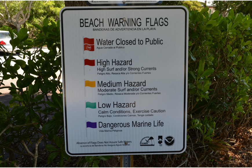 Signs have been posted at the entrances of both fire stations defining the flag colors that notify the Key's surf conditions.