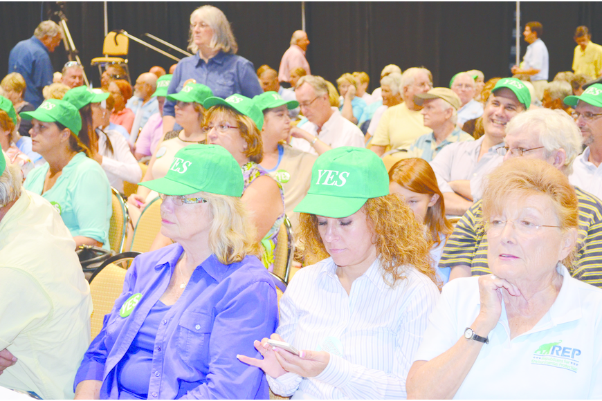 Long Bar Pointe project supporters prepare for a special land-use meeting of the Manatee County Commission Tuesday.