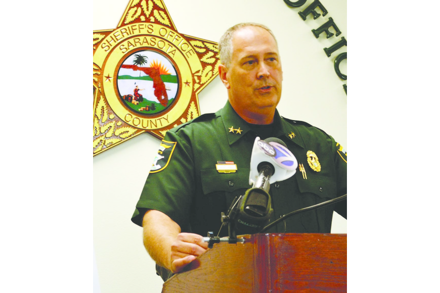 Sheriff Knight announces in an Aug. 1 press conference the success of a collaborative effort with area businesses to crack down on retail theft.