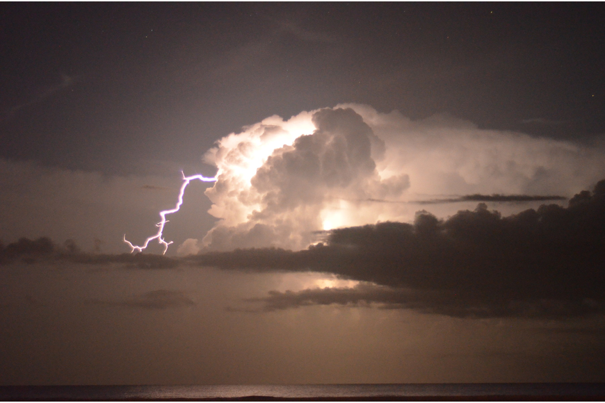 Lightning lit up the sky 1 a.m. Monday, Aug 12, at Siesta Key Beach as stargazers looked for shooting stars at the Perseid meteor shower.