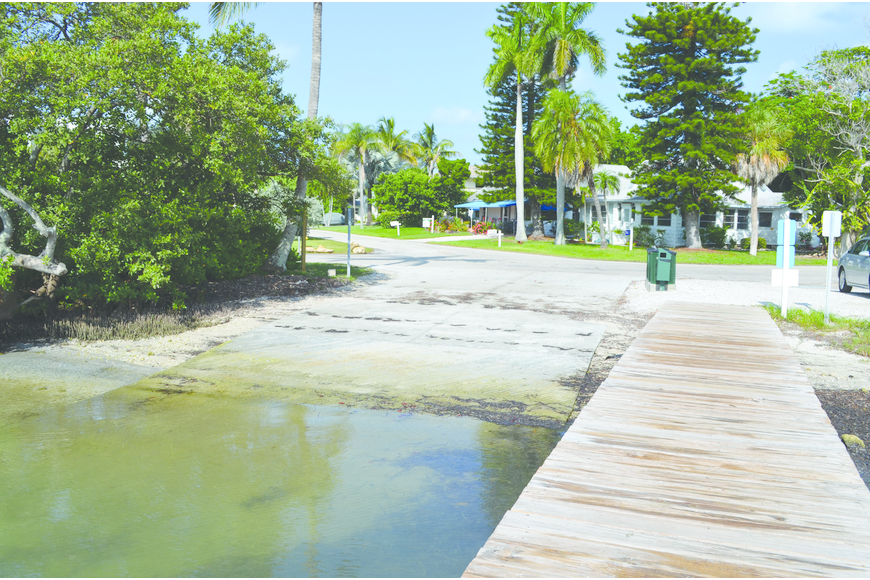 The town's only public boat ramp was extended 10 feet into the water because boaters complained that their trailers were falling into the bay when they attempted to back their larger boats into the water.