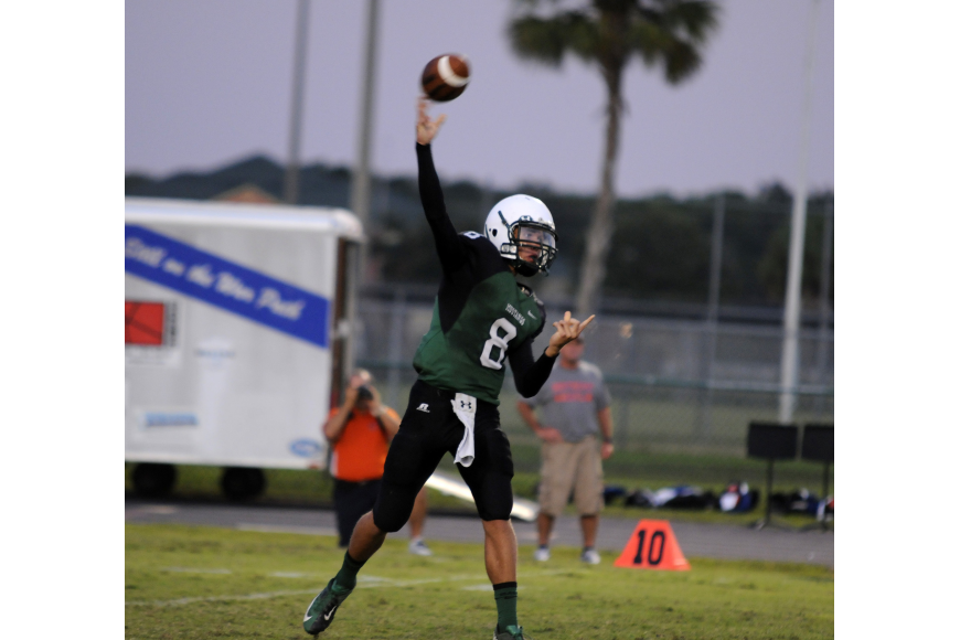Lakewood Ranch quarterback Chad Rex threw an 85-yard touchdown in the Mustangs loss to Tampa Jesuit.