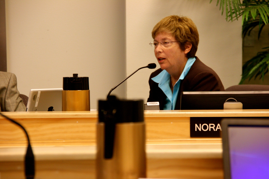 Sarasota County Commissioner Nora Patterson expresses concerns Tuesday about a controversial proposal to mine Big Pass for Lido Beach sand.