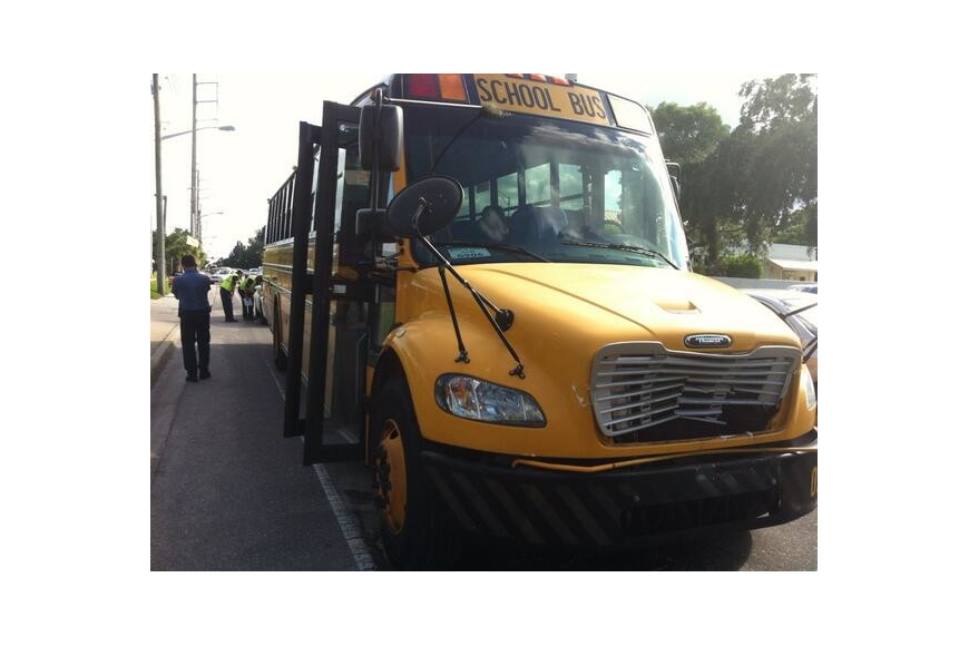 A school bus collides into a garbage truck near the intersection of Ringling Boulevard and Tuttle Avenue. The bus was transporting children from Gulf Gate Elementary to a Boys and Girls Club.