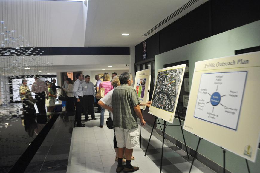 Prior to the Sept. 19 community meeting regarding construction of Lift Station 87, the lobby at City Hall was set up for attendees to peruse information posters.