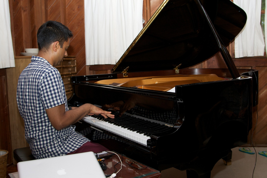 Vijay Iyer in his recent Hermitage Artist Retreat residency this summer. (Courtesy Hermitage Artist Retreat)