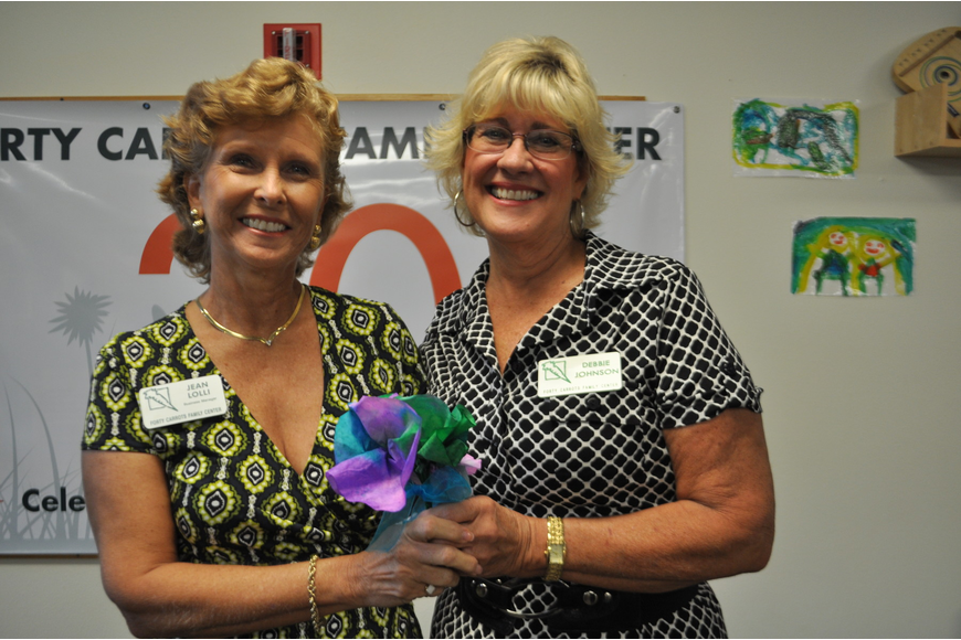 Jean Lolli and Debby Johnson were recognized for their years of service at Forty Carrots.