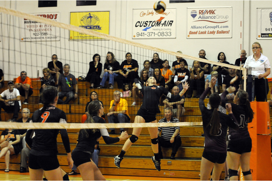 Sarasota junior Jordan Brooks finished with eight kills in the Sailors 3-1 victory over Braden River Oct. 22.