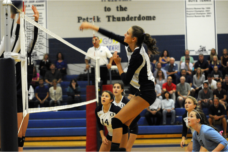 ODA senior Lauren Maxey goes up for a kill in the first set of the Thunder's 3-1 victory over Calvary Christian in the Class 3A-Region 3 quarterfinals Oct. 29.
