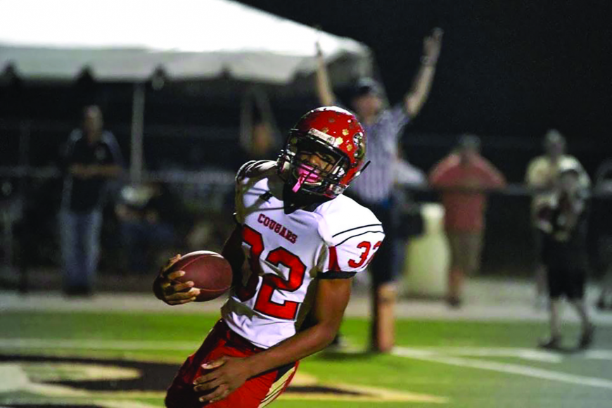 Courtesy photo. Cardinal Mooney freshman Vince Sellers scored a 5-yard touchdown and had an interception in the Cougars 35-10 victory over Fort Myers Bishop Verot Nov. 1.