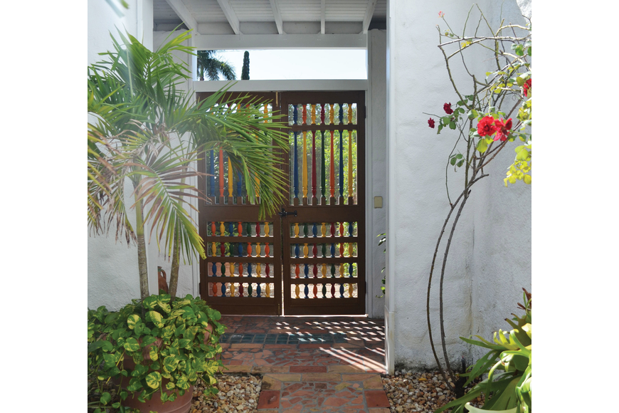 Wooden gates from John Ringling Towers add a colorful note of local history.