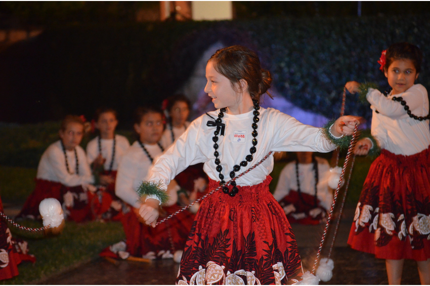 Southside Elementary's Hula Club performed in the courtyard