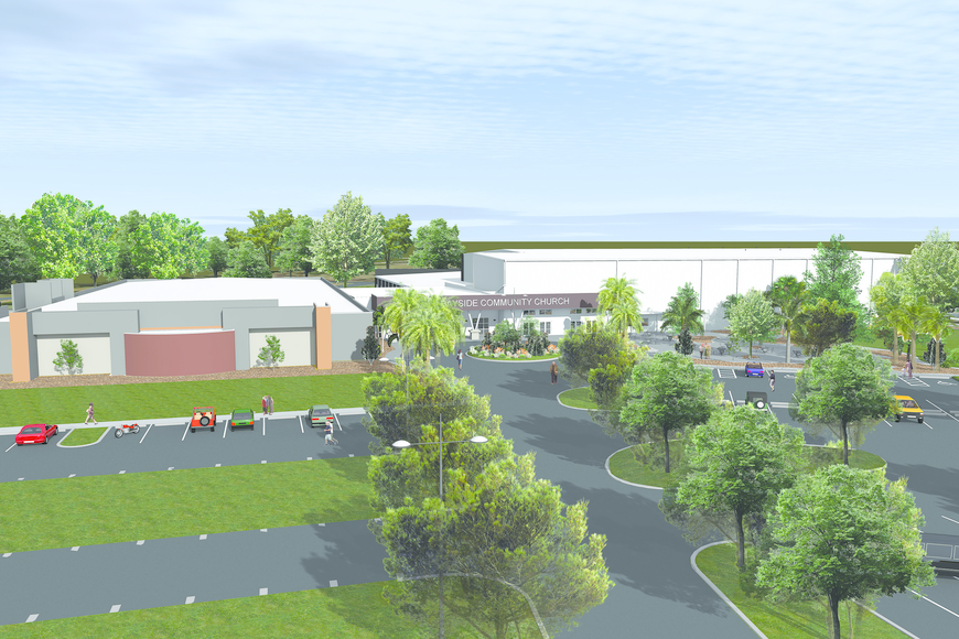 A rendering of the exterior of Bayside Community Church.