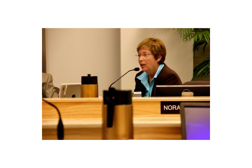 Sarasota County Commissioner Nora Patterson speaks at a September 2013 joint County Commission-Longboat Key Commission meeting.