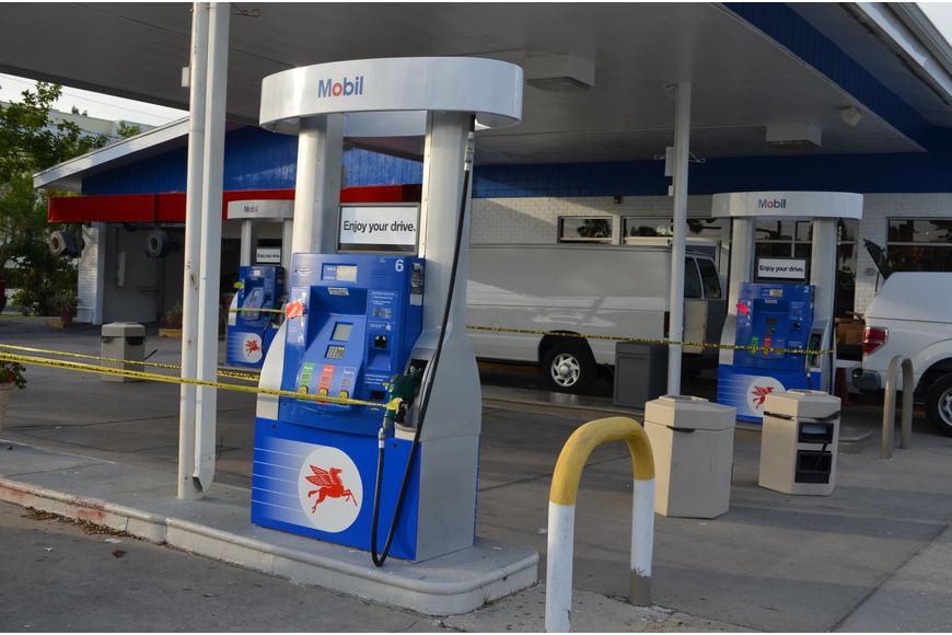Longboat Key's only gas station changed its green paint accents to Mobil's signature blue and red colors to reflect the new Mobil gas station.