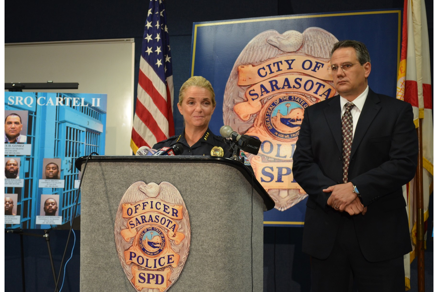 Sarasota Police Chief Bernadette DiPino and Lt. Pat Ledwith announce the details of a two-year operation targeting local drug traffickers.